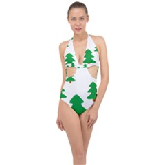 Christmas Tree Holidays Halter Front Plunge Swimsuit by Alisyart