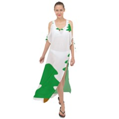 Christmas Tree Holidays Maxi Chiffon Cover Up Dress