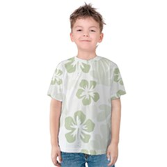 Hibiscus Green Pattern Plant Kids  Cotton Tee