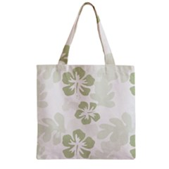 Hibiscus Green Pattern Plant Zipper Grocery Tote Bag