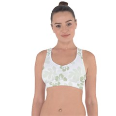 Hibiscus Green Pattern Plant Cross String Back Sports Bra