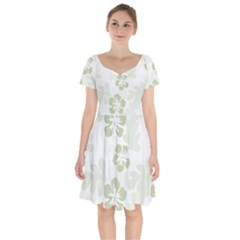 Hibiscus Green Pattern Plant Short Sleeve Bardot Dress
