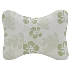 Hibiscus Green Pattern Plant Velour Seat Head Rest Cushion