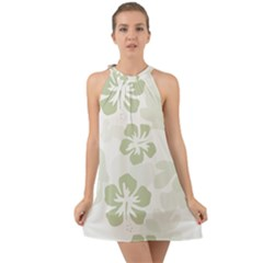 Hibiscus Green Pattern Plant Halter Tie Back Chiffon Dress