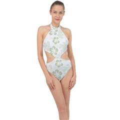 Hibiscus Green Pattern Plant Halter Side Cut Swimsuit