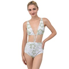 Hibiscus Green Pattern Plant Tied Up Two Piece Swimsuit