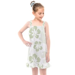 Hibiscus Green Pattern Plant Kids  Overall Dress