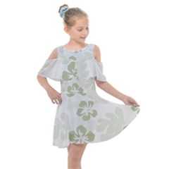 Hibiscus Green Pattern Plant Kids  Shoulder Cutout Chiffon Dress