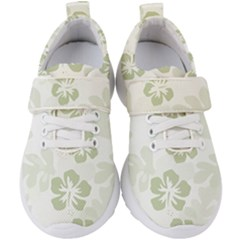 Hibiscus Green Pattern Plant Kids  Velcro Strap Shoes