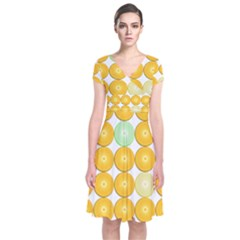 Citrus Fruit Orange Lemon Lime Short Sleeve Front Wrap Dress