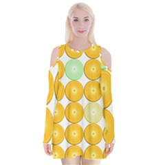 Citrus Fruit Orange Lemon Lime Velvet Long Sleeve Shoulder Cutout Dress