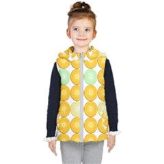 Citrus Fruit Orange Lemon Lime Kids  Hooded Puffer Vest
