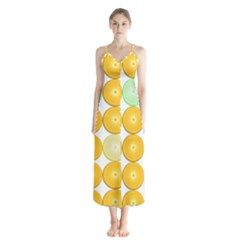 Citrus Fruit Orange Lemon Lime Button Up Chiffon Maxi Dress