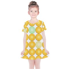 Citrus Fruit Orange Lemon Lime Kids  Simple Cotton Dress