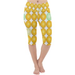 Citrus Fruit Orange Lemon Lime Lightweight Velour Cropped Yoga Leggings
