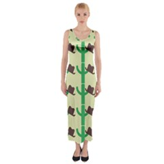 Cowboy Hat Cactus Fitted Maxi Dress