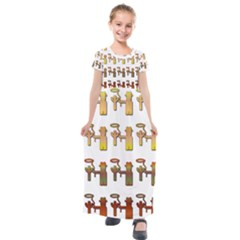 Cowboy Lasso Cactus Western Kids  Short Sleeve Maxi Dress