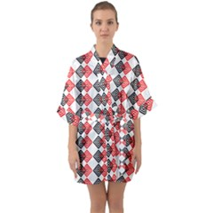 Backdrop Plaid Quarter Sleeve Kimono Robe by Alisyart