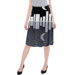 Cityscape City Waterfront Midi Beach Skirt
