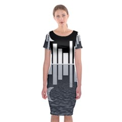 Cityscape City Waterfront Classic Short Sleeve Midi Dress