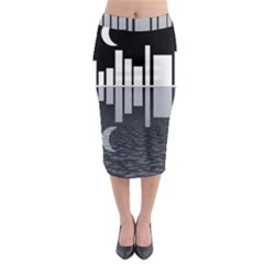 Cityscape City Waterfront Midi Pencil Skirt