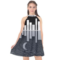 Cityscape City Waterfront Halter Neckline Chiffon Dress