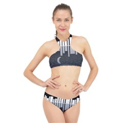 Cityscape City Waterfront High Neck Bikini Set