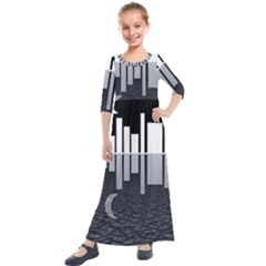 Cityscape City Waterfront Kids  Quarter Sleeve Maxi Dress by Alisyart