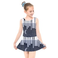 Cityscape City Waterfront Kids  Skater Dress Swimsuit