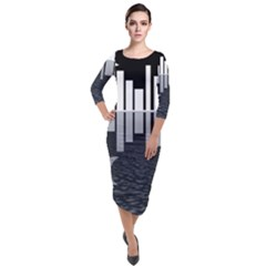 Cityscape City Waterfront Quarter Sleeve Midi Velour Bodycon Dress by Alisyart