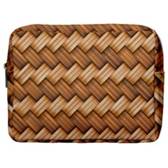 Basket Fibers Basket Texture Braid Make Up Pouch (large)