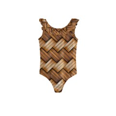 Basket Fibers Basket Texture Braid Kids  Frill Swimsuit