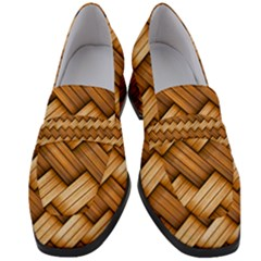 Basket Fibers Basket Texture Braid Women s Chunky Heel Loafers