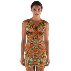Kaleidoscope Background Mandala Wrap Front Bodycon Dress