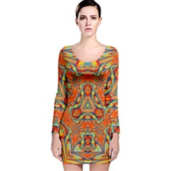 Kaleidoscope Background Mandala Long Sleeve Velvet Bodycon Dress