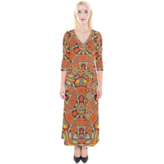 Kaleidoscope Background Mandala Quarter Sleeve Wrap Maxi Dress