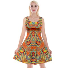 Kaleidoscope Background Mandala Reversible Velvet Sleeveless Dress