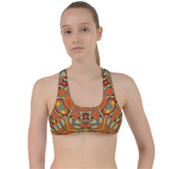 Kaleidoscope Background Mandala Criss Cross Racerback Sports Bra