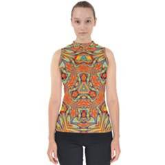 Kaleidoscope Background Mandala Mock Neck Shell Top