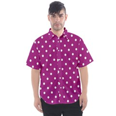 Polka Dots In Purple Men s Short Sleeve Shirt