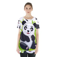 Giant Panda Bear Skirt Hem Sports Top
