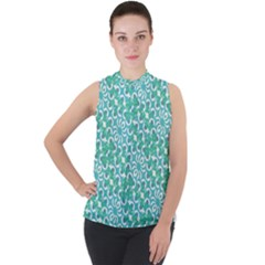 Colorful Abstract Print Pattern Mock Neck Chiffon Sleeveless Top by dflcprintsclothing