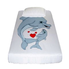 Dolphin Love Fitted Sheet (single Size) by retrotoomoderndesigns