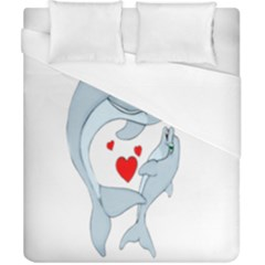 Dolphin Love Duvet Cover (california King Size) by retrotoomoderndesigns