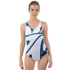 Blue Vector Car Cut Out Back One Piece Swimsuit