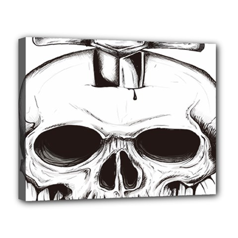 Skull Knife Euclidean Vector Skull Sword Inserted Canvas 14  X 11  (stretched)