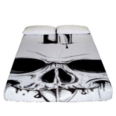 Skull Knife Euclidean Vector Skull Sword Inserted Fitted Sheet (queen Size) by Samandel