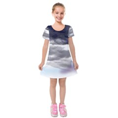 Thunder And Lightning Weather Clouds Painted Cartoon Kids  Short Sleeve Velvet Dress