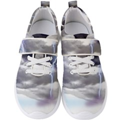 Thunder And Lightning Weather Clouds Painted Cartoon Men s Velcro Strap Shoes