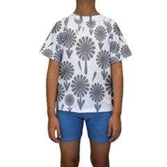 Zappwaits Flowers Black Kids  Short Sleeve Swimwear